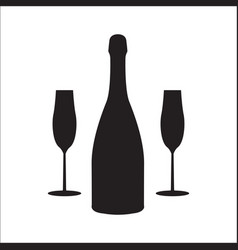 Bottle of champagne wine with two glasses linear vector