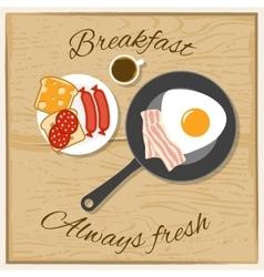 Breakfast color flat concept vector
