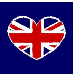 British flag t shirt graphics heart vector image