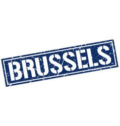 Brussels blue square stamp vector