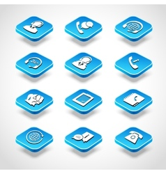 Call Center Isometric Icons vector image