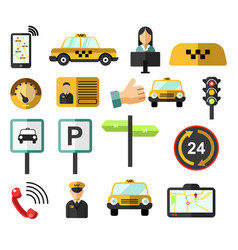 car order taxi service isolated icons yellow cab vector image
