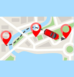 car with top view on city map and red pins car vector image