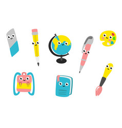 cartoon cute school supplies characters set vector image