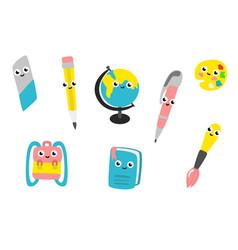 Cartoon cute school supplies characters set vector