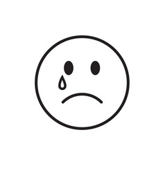Cartoon face cry tears people emotion icon vector