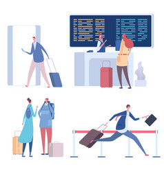 cartoon people in airport flat vector image