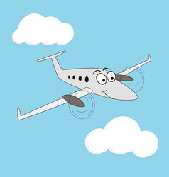 Cartoon style smiling airplane vector