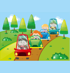 Children driving cars in the park vector