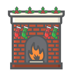 Christmas fireplace filled outline icon new year vector