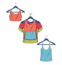 clothes on hangers women clothes in flat style vector image