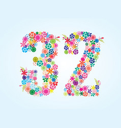 Colorful floral 32 number design isolated on vector