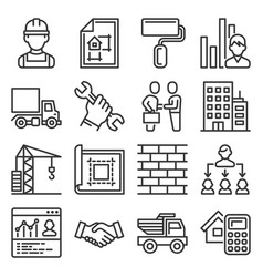 contractor and construction icons set on white vector image