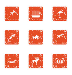 Creature icons set grunge style vector
