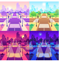 crossroad with crosswalk road traffic vector image