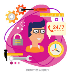 Customer support or technical support concept vector