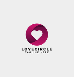 Dating love circle gradient logo template icon vector