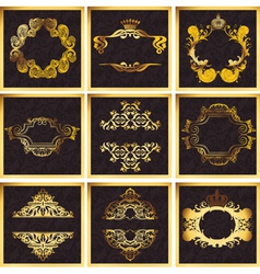 Decorative Golden Ornate Quad Frames vector