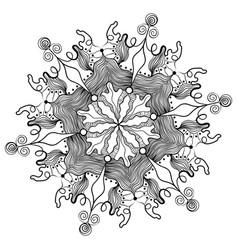 Decorative snowflake line art vector