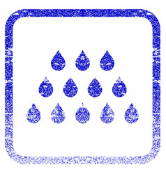 Drops framed textured icon vector