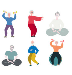 Elderly people exercising and streching in gym vector