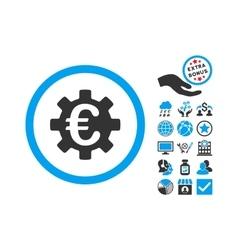 Euro Machinery Flat Icon With Bonus vector image