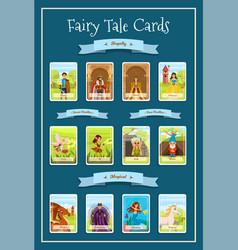 fairy tale characters cartoon cards vector image