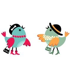 Fashionable birdies vector