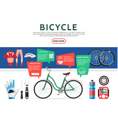 Flat bicycle elements set vector