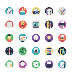 Flat icon set of art and design vector