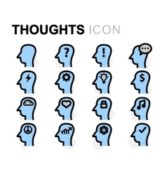 Flat thoughts icons set vector
