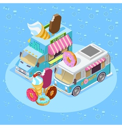 Food Trucks Isometric Composition Poster vector