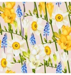 Freesia daffodil and muscari seamless background vector