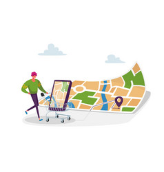 Geolocation positioning in retail store concept vector