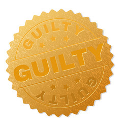Gold guilty medal stamp vector