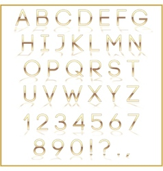 golden alphabet letters with reflection on white vector image