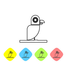 Grey line pirate parrot icon isolated on white vector