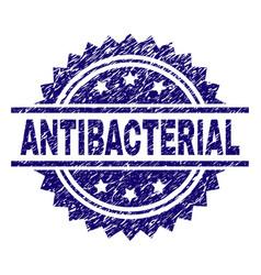 Grunge textured antibacterial stamp seal vector