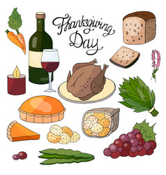 Hand drawn elements for the thanksgiving day vector