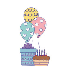 Happy day cake with candles gift and balloons vector