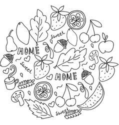 home sweet home hand drawn black and white doodle vector image