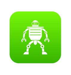 humanoid robot icon digital green vector image