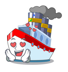 In love luxury character ship sailing to port vector