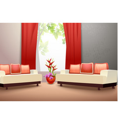 Interior design living room vector