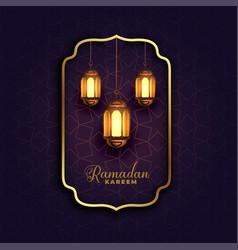 Islamic ramadan kareem background with lamps vector