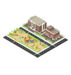 Isometric city children playground template vector