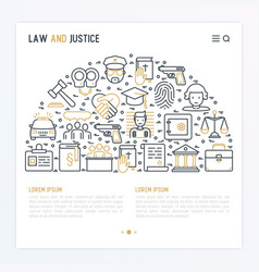 Law and justice concept in half circle vector