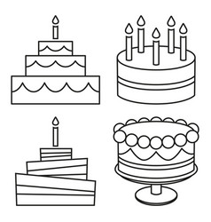 line art black and white birthday cake set vector image