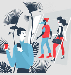 man with smartphone in shopping center vector image