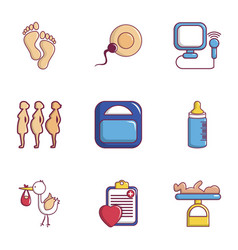 medicine and pregnancy icons set flat style vector image